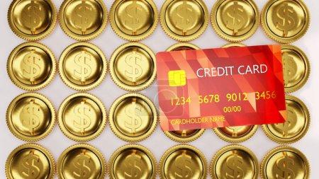 Photo pour Carte de crédit rouge avec pièces d'or isolées sur fond blanc. - image libre de droit