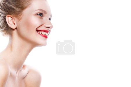 Photo for Beautiful woman face. Perfect toothy smile. Caucasian young girl close up portrait. red lips, skin, teeth. Isolated on white background. Studio shot . happy positive girl. - Royalty Free Image
