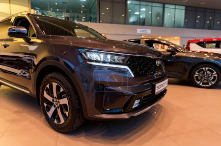 Photo for ROSTOV-ON-DON, RUSSIA - CIRCA OCTOBER 2020: Kia Sorento, new popular model in dealer centre, front side view - Royalty Free Image