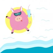 Pig with a cocktail in a rubber ring in the sea top view flat vector illustration Summer holiday