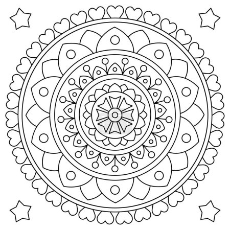 Illustration for Mandala. Coloring page. Black and white vector illustration - Royalty Free Image
