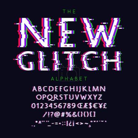 Ilustración de Nuevo Glitch vector fuente y el alfabeto con números, signos y símbolos - Imagen libre de derechos