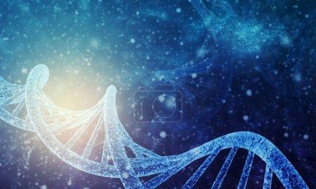 3D-Darstellung der DNA-Struktur im Farbhintergrund