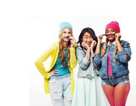 diverse nation girls group, teenage friends company cheerful hav
