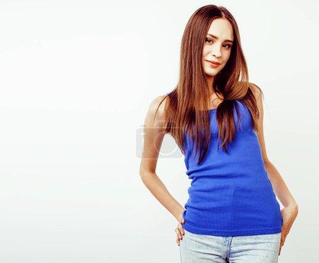 Photo pour Jeune jolie chic brune hipster fille posant émotionnel isolé sur fond blanc heureux sourire cool, style de vie gens concept gros plan - image libre de droit