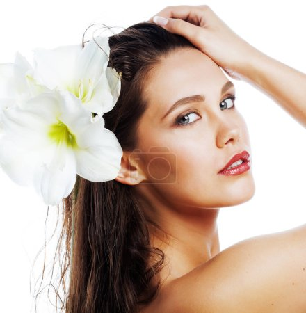 young pretty woman with  Amarilis flower close up isolated on wh