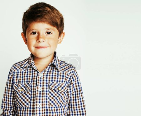 Photo for Little cute real boy on white background gesture smiling close up, lifestyle people concept - Royalty Free Image