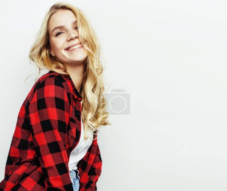 Photo for Young pretty stylish hipster blond girl posing emotional isolated on white background happy smiling cool smile, lifestyle people concept close up - Royalty Free Image