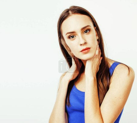 Photo for Young pretty stylish brunette hipster girl posing emotional isolated on white background happy smiling cool smile, lifestyle people concept close up - Royalty Free Image