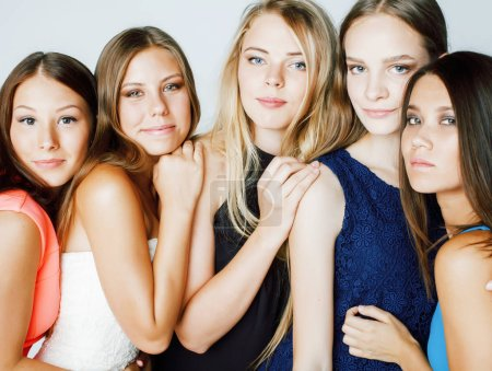 Photo for Many girlfriends hugging celebration on white background, smiling talking chat, girl next door close up wondering sweety group, lifestyle real modern people - Royalty Free Image