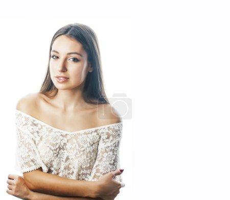 Foto de Joven Linda a chica con estilo hipster rubia posando emocional aislado sobre fondo blanco sonriente cool sonrisa feliz, estilo de vida personas concepto closeup - Imagen libre de derechos