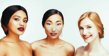 Photo for Different nation woman: asian, african-american, caucasian together isolated on white background happy smiling, diverse type on skin, lifestyle people concept close up - Royalty Free Image