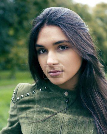 Photo for Young cute smiling woman in green park , lifestyle concept happy people closeup - Royalty Free Image