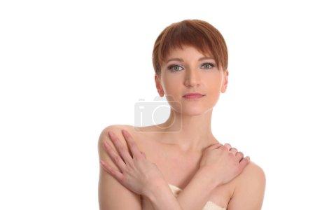 beautiful young woman woman in white towel