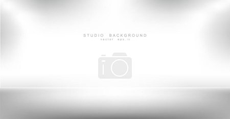 Photo pour Empty gallery wall with lights for images and advertisement. Studio showcase room background, empty space, can use for display your products. illustration Vector EPS 10 - image libre de droit