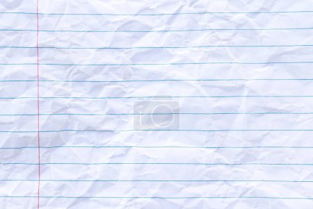 Photo for Crumpled white paper sheet with lines background, copy space lined lined - Royalty Free Image