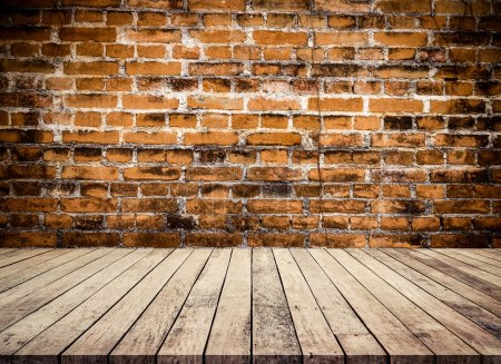 Photo for Old wood planks floor with abstract old brick wall background - Royalty Free Image