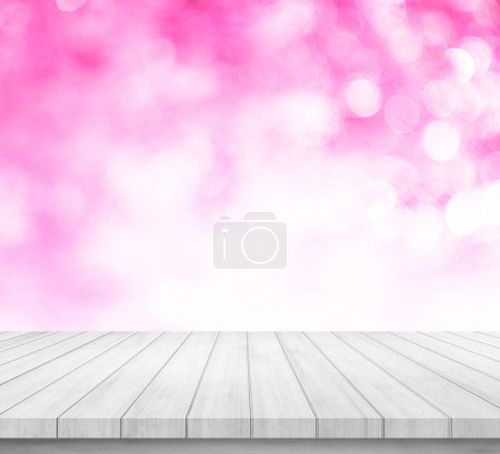 Photo for Wood table or wood floor with abstract pink bokeh background for product display - Royalty Free Image
