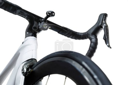 Photo for Closeup shot of a white roadbike with front flashlight under the handlebar - Royalty Free Image