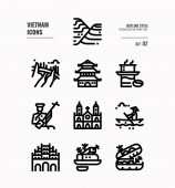 Vietnam line icon set 2
