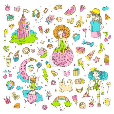 Photo pour Ensemble d'icônes adolescentes, objets adolescents dessin animé mignon, autocollants amusants vecteur de conception dans le concept des adolescentes. Ensemble d'icônes Doodle pour adolescents. Coeurs dessinés à la main colorés, pizza, licorne, bonbons. Nourriture, amour - image libre de droit