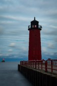 Milwaukee pierhead lighthouse late evening/dusk as the clouds roll in.