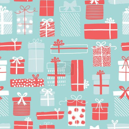 Illustration for Gift boxes vector pattern in hand drawn doodle style. Seamless background with gift boxes, ribbons. Birthday party. Illustration for greeting cards, invitations, posters. - Royalty Free Image