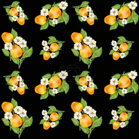 Photo pour Seamless background with the image of fruit. Gifts of nature in a chaotic arrangement close-up. Theme of summer and healthy food. Illustration for printing on paper or fabric. - image libre de droit