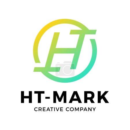 geometric circle ht th company logo letters design concept