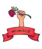 Vector isolated symbol of feminism Design template for print banners and web design The symbolism of feminism is a female hand with a raised fist with a rose Under the slogan - We can do it!