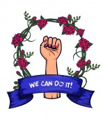 Vector isolated icon of feminism symbol Design template for print advertising banners flyers posters and web design Symbolism of feminism - female hand with fist raised up in a wreath of roses