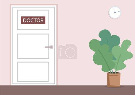 Doctor office flat color vector illustration. Medi...