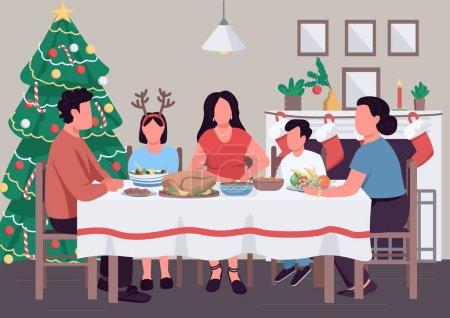 Dîner de famille de Noël illustration vectorielle de couleur plate. Banquet du Nouvel An. Arbre de Noël et bas. Parents et enfants personnages de dessins animés 2D avec intérieur décoré festif sur fond