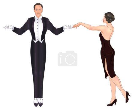 Beau couple en style art déco dansant le tango. Mode rétro : homme glamour et femme de vingt ans. Illustration vectorielle. Le style Flapper 20. Modèle d'invitation de mariage vintage ou thématique