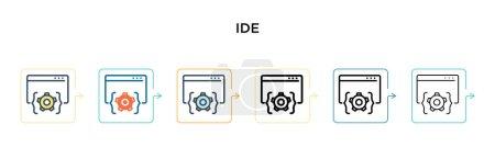 Illustration pour Idée icône vectorielle dans 6 styles modernes différents. Noir, deux icônes ide colorées conçues dans le style rempli, contour, ligne et trait. Illustration vectorielle peut être utilisé pour le web, mobile, ui - image libre de droit