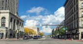 Saginaw, Michigan, USA - Cityscape of the streets of downtown Saginaw Michigan on an autumn day.