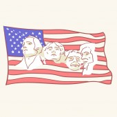 USA founding fathers flag hand drawn style vector doodle design illustrations