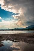 "Постер, картина, фотообои ""Шторм над рекой Тальяменто в жаркий летний день"""