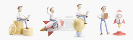 Photo for Set of 3d illustrations. cartoon character flies on a rocket into space. concept of creativity ind startup. - Royalty Free Image