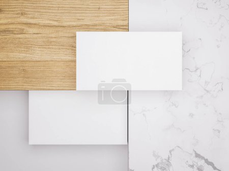 Photo for .Creative mockup set. Minimalistic mockup with business cards on wood and warble texture. - Royalty Free Image