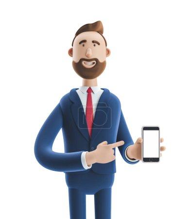 Photo pour Portrait d'un beau personnage de dessin animé avec téléphone portable. Illustration 3d - image libre de droit