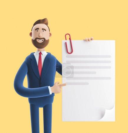 Photo pour Illustration 3D sur fond jaune. Beau personnage de bande dessinée Billy détient un document complété . - image libre de droit