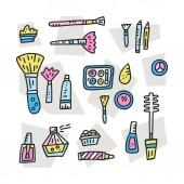 Doodle illustration of girlish cosmetics