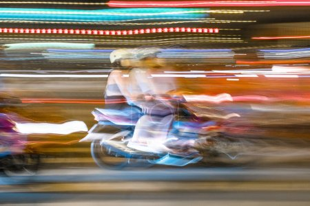 Photo for Traffic lights on the road at night - Royalty Free Image