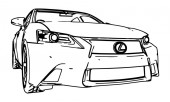 Vector drawing Lexus GS made in black contour lines on a white background