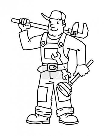 Illustration pour Réparateur drôle ou plombier avec les outils. Service technique. Illustration vectorielle. Caractère de bande dessinée - image libre de droit