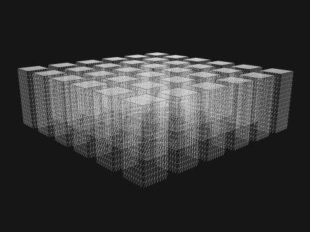 Illustration pour Un bloc de rectangles polygonaux. Rectangles à partir de lignes blanches sur un fond noir. 3D. Illustration vectorielle. - image libre de droit
