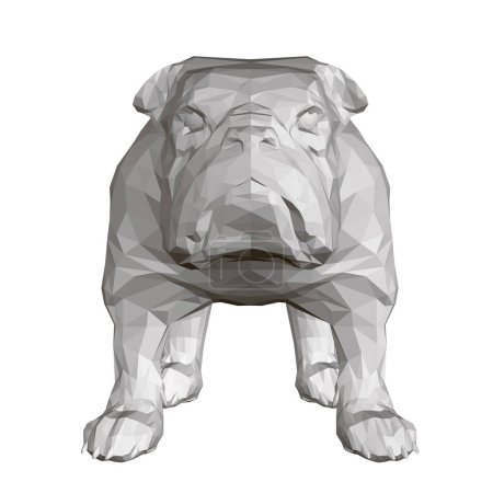 Illustration for Polygonal Bulldog 3D. Front view. Vector illustration. - Royalty Free Image