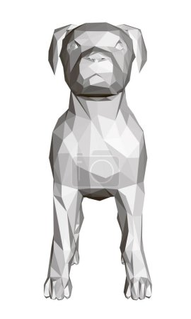 Illustration for 3D polygonal dog. Front view. Geometric figure of a dog. Bull Terrier Vector illustration. - Royalty Free Image