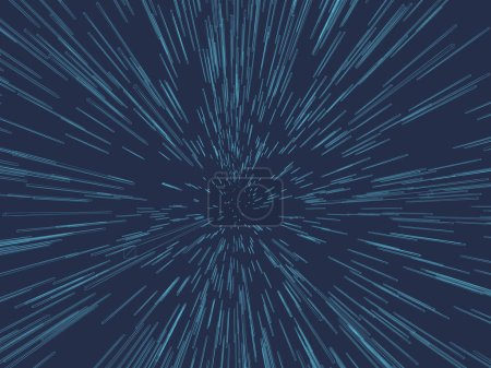 Illustration for Abstract background with the effect of acceleration. 3D Many wireframe of blue rectangles. Vector illustration. - Royalty Free Image